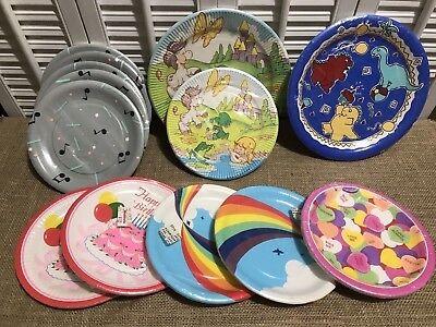 Lot Of 108 Vintage Birthday Party Dessert Paper Plates Music Rainbow Ponies Dino (Rainbow Paper Plates)
