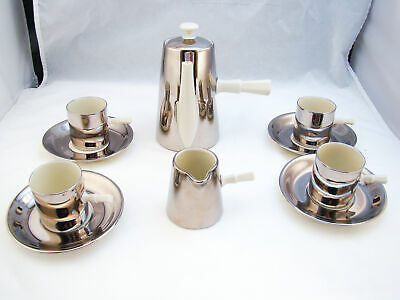 Used, Victoria Czechoslovakia Bone China SILVER Handled Coffee/Espresso Set EXCELLENT for sale  Shipping to Ireland
