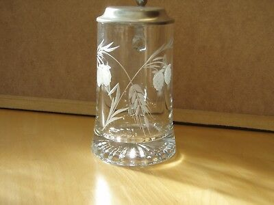 Glasbierkrug 0,5 l  mit Zinndeckel
