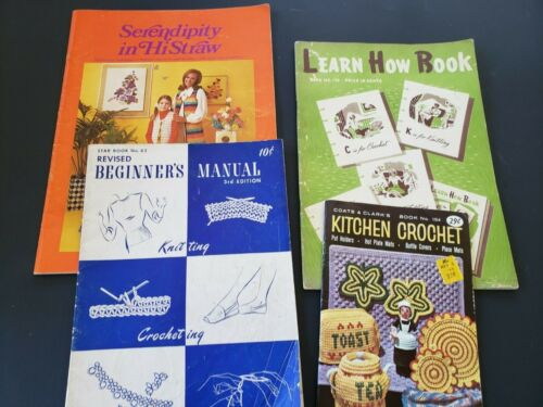 VINTAGE 1940s, 1960s, 1970 KNITTING & CROCHETING BOOKS PATTERNS Lot of 4 How-To