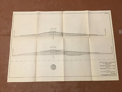 1913 Panama Canal Sketch Diagram Showing Section of Gatun Dam Progress