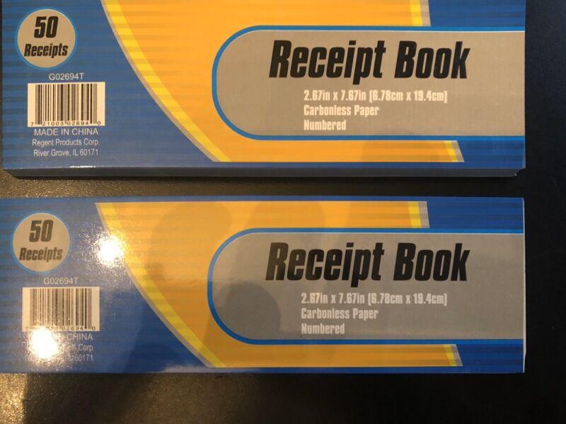 100 CARBONLESS RECEIPTS - 2 BOOKS OF 50 - CASH MONEY RENT RECEIPT DUPLICATE COPY