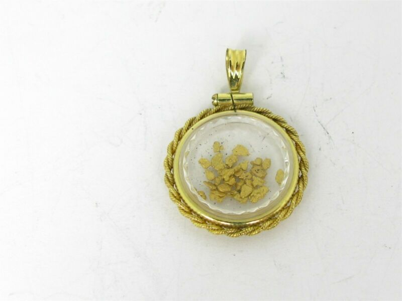 Vintage Gold Filled Alaskan Gold Nugget Encased Ladies Pendant 2.2g B39