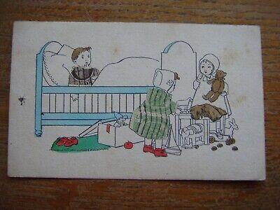 Vieille carte de 1938 avec dessin avec des ENFANTS (filles garçon lit malade)