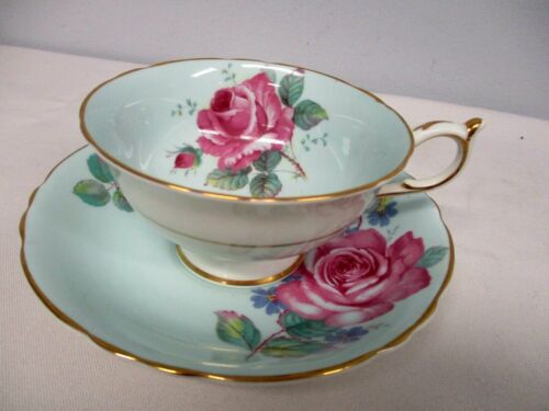 VINTAGE PARAGON BLUE CABBAGE ROSE TEA CUP & SAUCER ~ EXCELLENT CONDITION