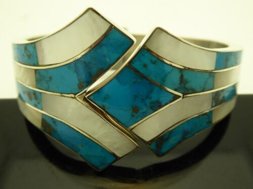 """Vintage Turquoise MOP Sterling Art Deco Clamper Hinged Bangle Bracelet Size 7"""""""
