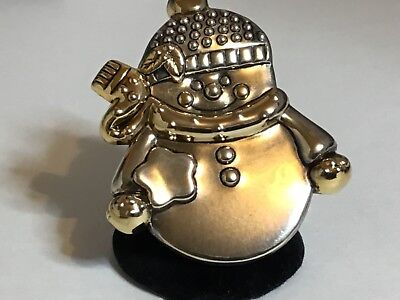 Vintage Large gold & Silver Tone Snowman Signed Best Brooch/Pendant 80s (Best 80 S Costumes)