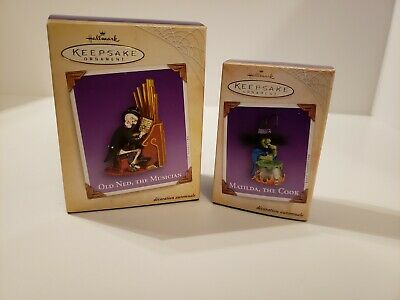 Hallmark Halloween Ornaments Old Ned the Musician & Matilda the Cook