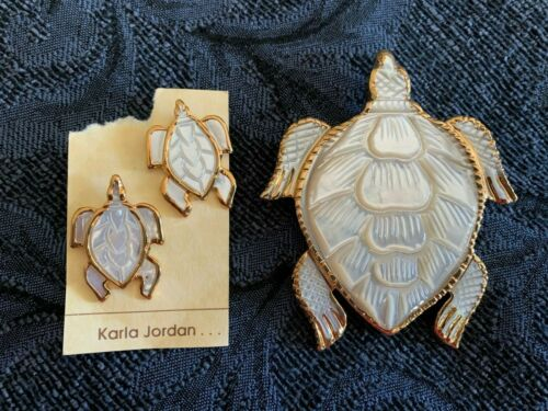 Karla Jordan Gold-Trimmed Shell Turtle Brooch and Matching Pierced Earrings