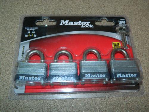 "NEW SET OF 4 MASTER LOCK 3009D LAMINATED STEEL WARDED PADLOCK 1-1/2"" WIDE 2 KEYS"