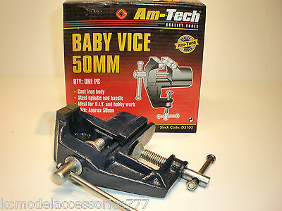 """50mm 2"""" Mini Baby Vice Clamp Hobby Model Making Fixed Base in Cast Iron."""