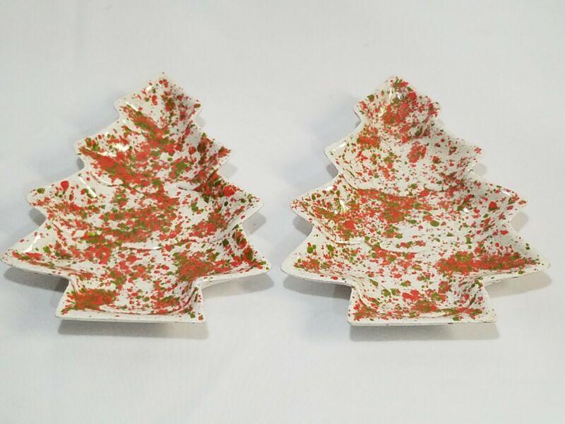 "2 Vintage Ceramic Christmas Tree Dish Red & Green Splatter Speckled 7.5"" MCM"