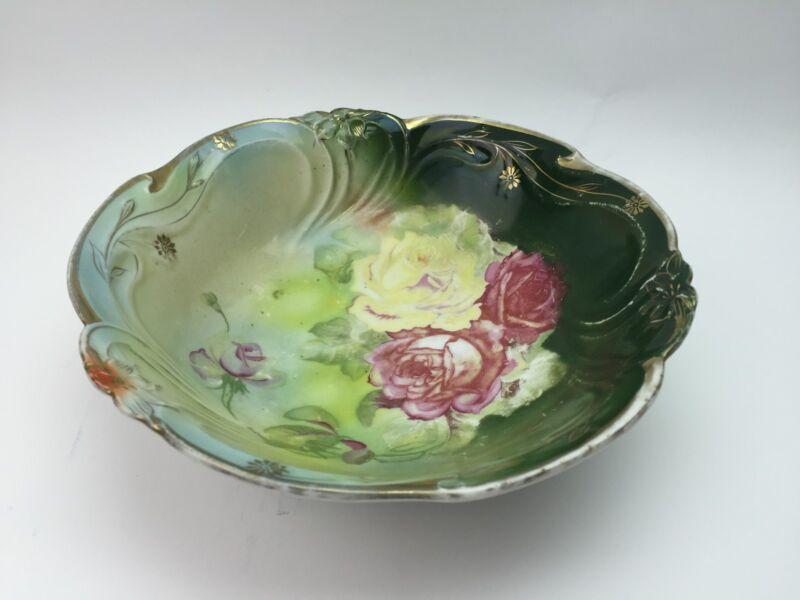 "10"" Antique German Bavaria  Dish Bowl Roses Marked Scalloped Vintage shabby chic"