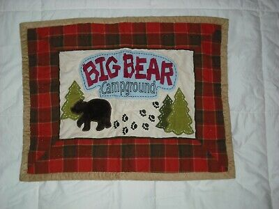 Woolrich Kids Big Bear Campground One Pillow Sham Case Red Plaid Cotton