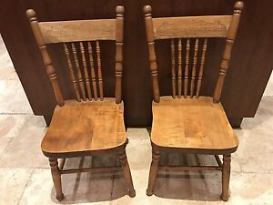 Antique refinished oak press back chairs (child size)