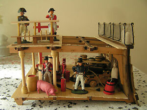 Nelson period Royal Navy wood model sailing ship gun deck interior diorama