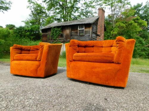 Pair 1970s ORANGE Swivel Mid Century Modern Coggin Baughmann Style Lounge Chairs