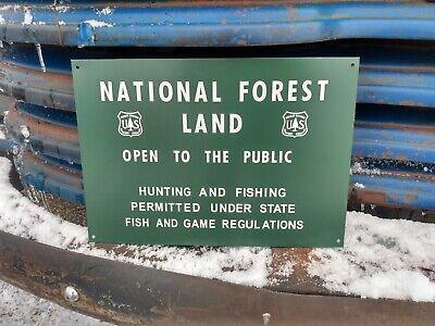 "Vintage c. 1960 National U.S. Forest Land Fishing Hunting Gas Oil 15"" Metal Sign"