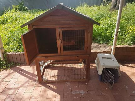 Double Storey Rabbit Hutch and Carry Cage