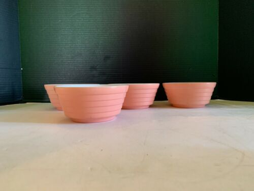 Vintage Hazel Atlas Moderntone Pink Cereal Bowl Set of 4 J