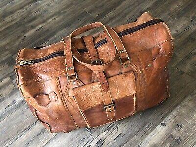 1940s Handbags and Purses History Vintage 1940s Leather Handmade Big Doctor Duffel Bag $100.00 AT vintagedancer.com