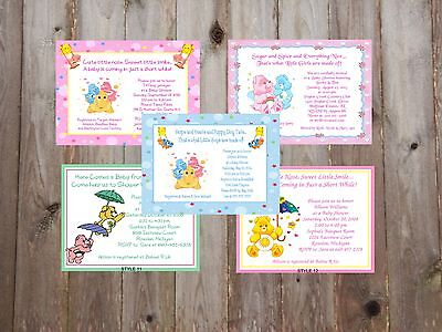 Care Bears Adorable Baby Shower Invitations - Care Bear Baby Shower