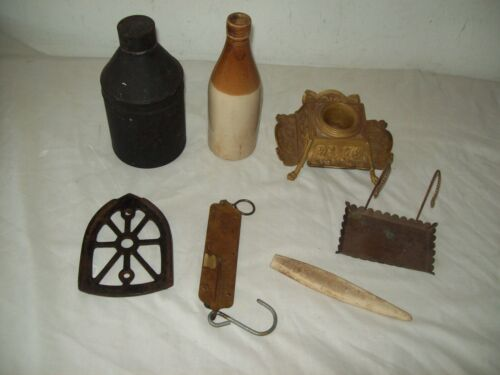 junk drawer box lot antique items brass Chattalon scale  ink well stank ,Trivit