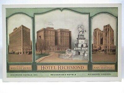 "1920 ART DECO ADV POSTCARD "" RICHMOND HOTELS INC, RICHMOND VA "" W/ BIOS UNUSED"