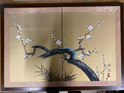 Japanese Chinese 2 panel folding screen vintage painted signed not used byobu