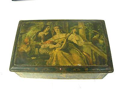 Sehr schöne alte Blechdose, schöne Litographie, verschiedene Motive um1880/1900