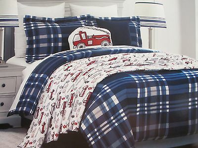 Comforter Set Bear Plaid - RUGGED BEAR Kids 5pc Firetruck Plaid Blue White Red Comforter Quilt Set - Twin