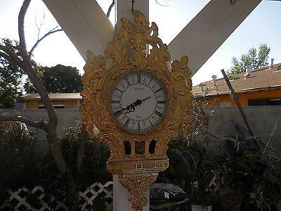 Vintage Ornate Bronze Pendulum Quartz Wall Bellona Tokyo Clock Circa 40's