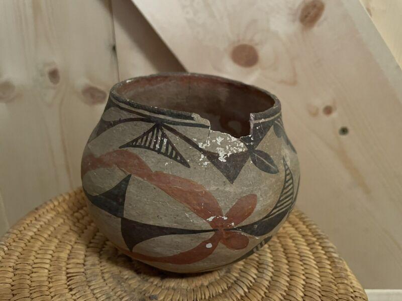 Old Native American Polychrome Acoma Pottery Bowl