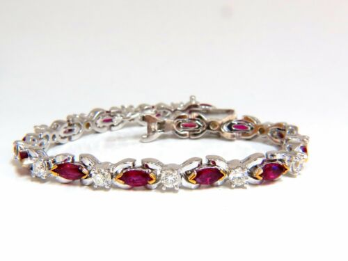 3.50ct Nautral Ruby & 2.50ct Diamonds Bracelet 14kt