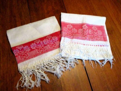 Antique Butler Kitchen Tea Towels Turkey Red Damask Hand Knotted Fringe Lot 2