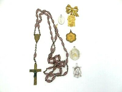 Mixed Lot of Religious Christian Medallions Medals Pendants Rosary Purple Bead