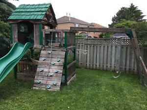 Swing set slide and play centre wood and plastic combo