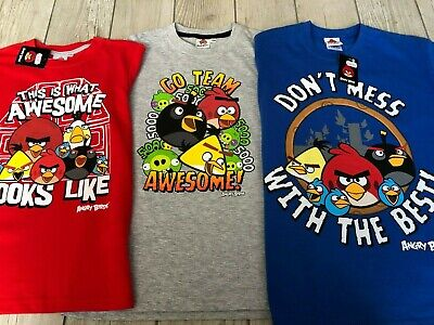 NEW BOYS CHARACTER T-SHIRTS STAR WARS ANGRY BIRDS RED BLUE GREY 7-12 YEARS