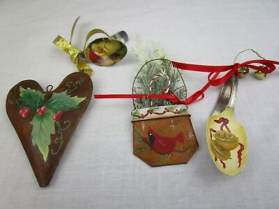 Hand Painted Christmas Ornaments On Metal Set of 4