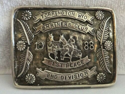 VTG STERLING SILVER Overlay 1988 Wyoming Shriners Club Rodeo TROPHY BELT BUCKLE