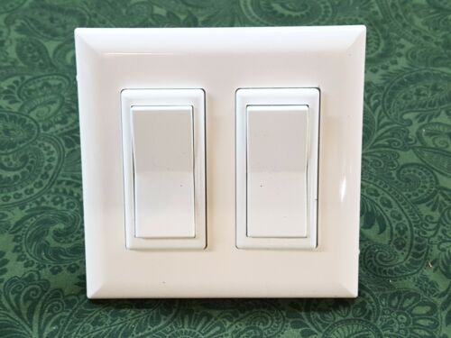 MOBILE HOME PARTS SELF CONTAINED DECORATOR DOUBLE LIGHT SWITCH - WHITE