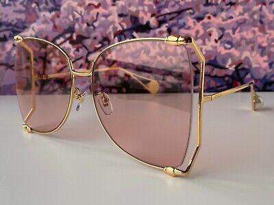 Gucci GG0252S Gold Frame Pink Lens Women's Oversize Sunglasses Butterfly