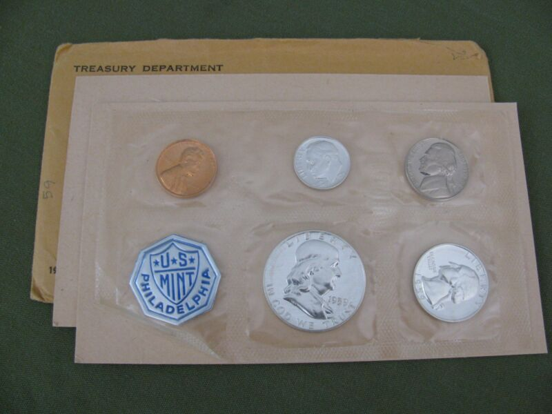 3 US Mint Proof Sets 1959 1960 1961 w 90% Silver Franklin Half Dollar Coins PICS