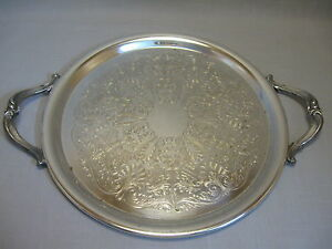 Silver Plate Serving or Carry Tray With Handles Flower & Leaf Designs