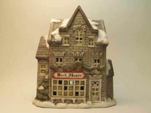 Old World Village 1990 - Book Shoppe Porcelain Lighted House Christmas Xmas