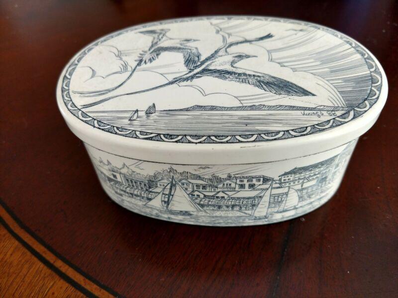 Scrimshaw Oval Trinket Box birds ships seaside scenes Vintage Signed KOVAGO 1988