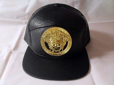 Classic fashion faux leather handmade gold engrave Medusa snapback cap DIY hat