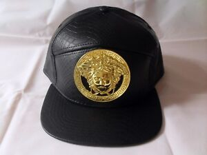 0f278fac52c Classic fashion faux leather handmade gold engrave Medusa strapback cap DIY  hat