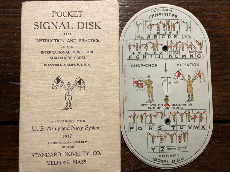 POCKET SIGNAL DISK +Instructions / INTERNATIONAL MORSE CODE - Boy Scout BSA 1917