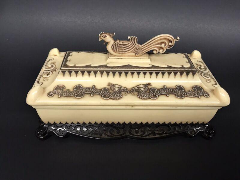 Vintage Chinese Asian Plastic Trinket Jewelry Box with Dragons & Phoenix Bird